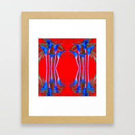 BLUE CALLA LILIES RED WATER REFLECTIONS Framed Art Print