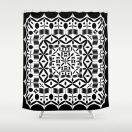 Mandala Square Black Shower Curtain