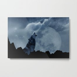 Wolf howling at full moon Metal Print