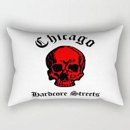 Chicago Illinois Hardcore Streets Urban Streetwear Red Color Skull, Super Sharp PNG Rectangular Pillow