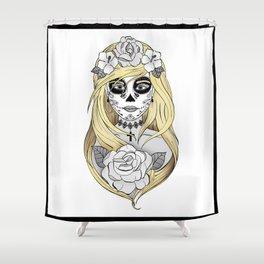 Santa Muerte Blond Shower Curtain