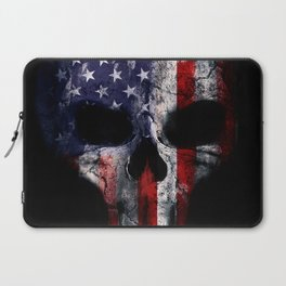 American Flag Punisher Skull Grunge Distress USA Laptop Sleeve