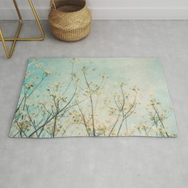 White Dogwood Tree Spring Flower Branches Painterly Rug