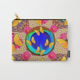 Fuchsia  Pink Yellow Butterflies Blue Patterns Carry-All Pouch