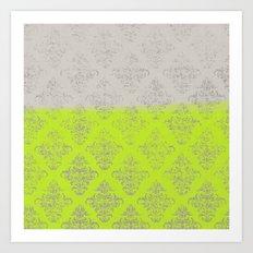 Layers Damask Lime Art Print