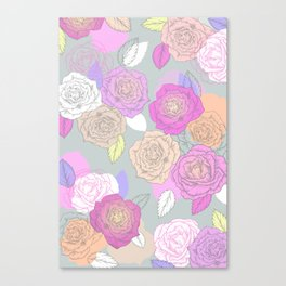 Roses, painted floral pattern Canvas Print