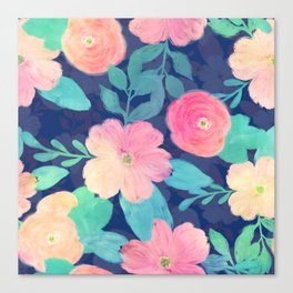 Girly Pink Hand Paint Floral Classic Blue Design Canvas Print