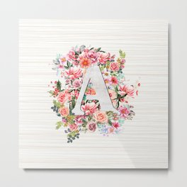 Initial Letter A Watercolor Flower Metal Print