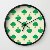 vegetable Wall Clocks featuring VEGETABLE-BROCCOLI! by Claudia Ramos Designs