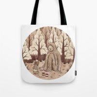 bigfoot Tote Bags featuring Bigfoot by Najmah Salam