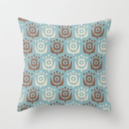 Mid Century Modern Retro Flower Pattern Blue and Brown 931 Throw Pillow