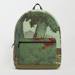 Vintage Japanese Woodblock Print Nara Park Deers Green Trees Red Japanese Maple Tree Backpack