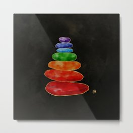 Zen Pebbles Chakras - Watercolor & Gold Metal Print