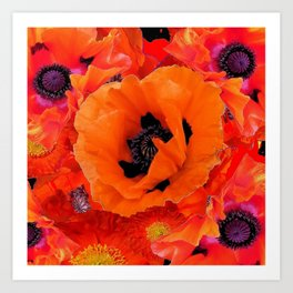 DECORATIVE ORANGE POPPY FLOWERS COMPOSITION Art Print