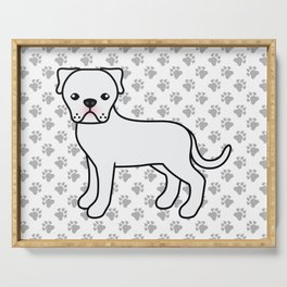 White American Bulldog Dog Cartoon Illustration Serving Tray