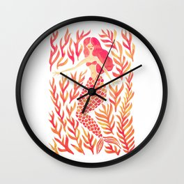 Kelp Forest Mermaid – Peach Palette Wall Clock