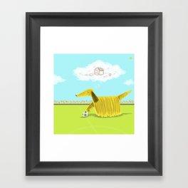 Happy Football Dog Framed Art Print