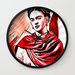 Portrait of artist Frida Kahlo 14. Wall Clock
