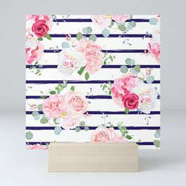 Pink Floral & Navy Stripes Mini Art Print