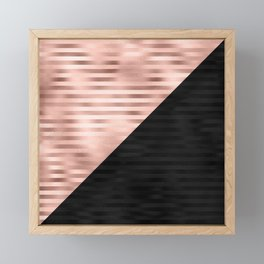Modern Chic Pink Rose Gold Black Triangle Cut Framed Mini Art Print