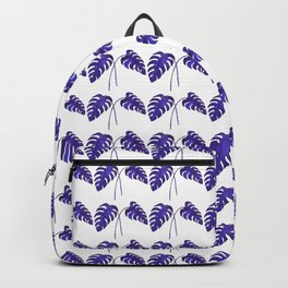 Indigo Monstera Leaf Watercolor - on white Backpack