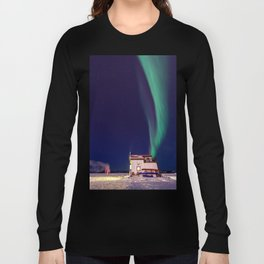 Northern Lights and house boat in Yellowknife Long Sleeve T-shirt