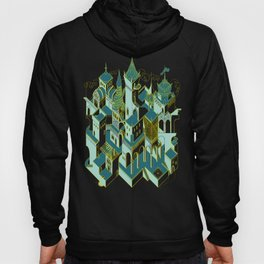 Babel architecture - night view green Hoody