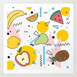 Fruit Salad Memphis Art Print