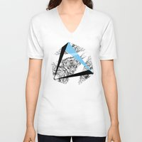 hexagon V-neck T-shirts featuring Hexagon by ADGPC
