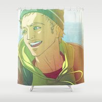 jesse pinkman Shower Curtains featuring Cowhouse (Jesse Pinkman - Breaking Bad) by Pana Stamos