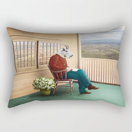 Mr Garwood Goat Reading on the Porch Rectangular Pillow