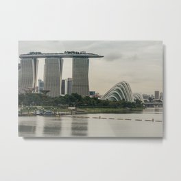 View of Marina Bay Sands and Gardens by the Bay Metal Print