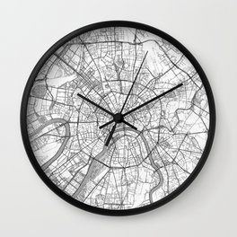 Moscow Map Line Wall Clock