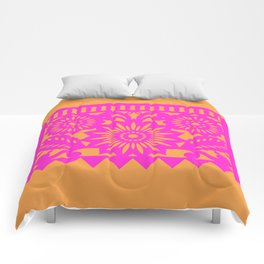 PAPEL PICADO - pink orange Comforters