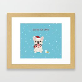 French Bulldog Waiting for Santa - Cream Edition Framed Art Print