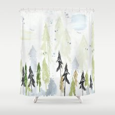 Into the woods woodland scene Shower Curtain