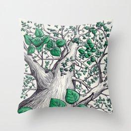 Big tree in white Throw Pillow