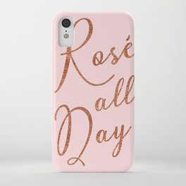 Rosé all day in Rose Gold and Pink iPhone Case