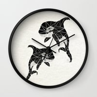 orca Wall Clocks featuring orca by Manoou