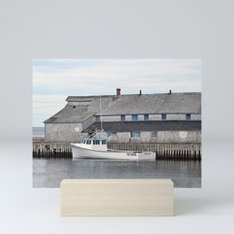 Lobster Boat and Old Building Mini Art Print