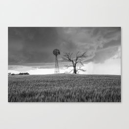Blowing in the Wind - Black and White Windmill and Dead Tree with Storm in Oklahoma Canvas Print