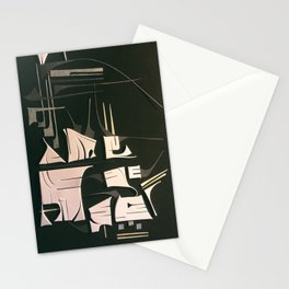 Modern Metropolis- Black and White Abstract  Stationery Cards