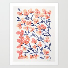 Cherry Blossoms – Peach & Navy Palette Art Print