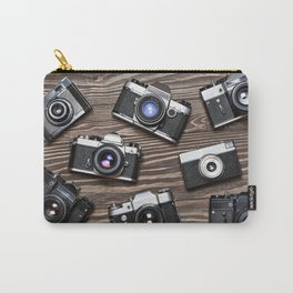 Collection of retro photo cameras on  wood Carry-All Pouch