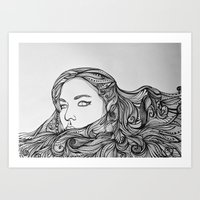 Girl with the swirling hair Art Print