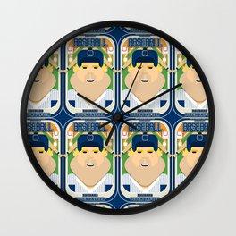Baseball Blue Pinstripes - Rhubarb Pitchbatter - Sven version Wall Clock