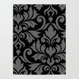 Flourish Damask Art I Gray on Black Poster