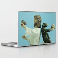darwin Laptop & iPad Skins featuring Jesus vs Darwin by Beastie Toyz