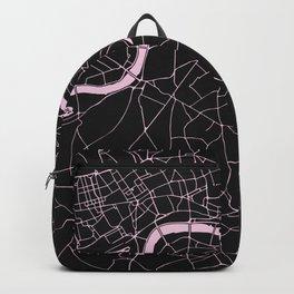 London Black on Pink Street Map Backpack