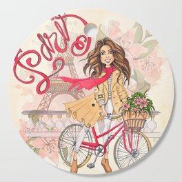 Beautiful Girl On A Bicycle In Paris Cutting Board